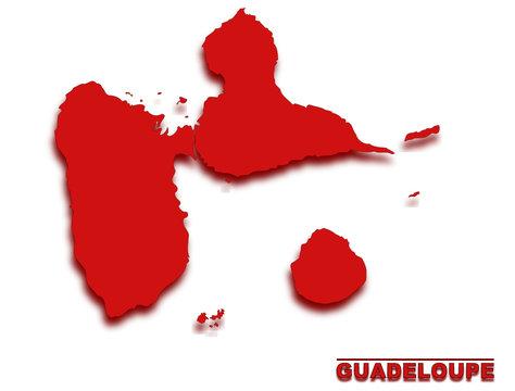 carte de la guadeloupe région de france détourée rouge