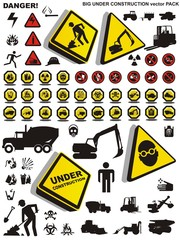 big under construction and work icon set