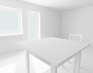 table and chair in white room