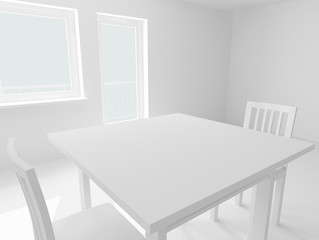 white table and chairs in room