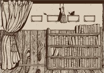 Vintage library interior. Drawing. Vector