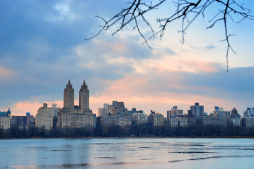 Central Park Skyline over lake, New York City