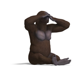 gorilla not seeing. rendering with clipping path and shadow over