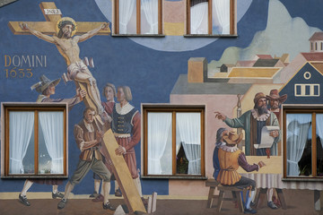 Détail d'une vieille maison peinte d'Oberammergau