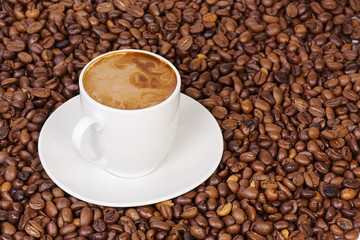 coffee beans and cup of drink