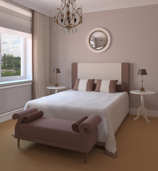 Interior of modern bedroom.