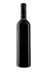 A bottle of red wine, isolated on white. XXL.