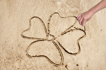Flower shape drawn in sand on a beach
