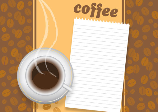 Cup of coffee on brown background with a beans