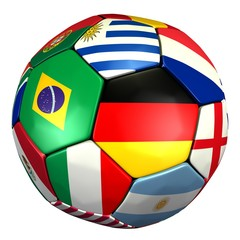 Fussball mit Länder Flaggen