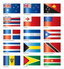 Glossy flags - Oceania & America