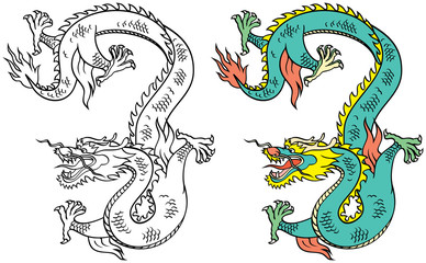 Chinese Tattoo Dragon – Vector Illustration