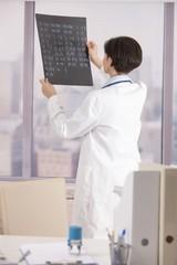 Physician examining x-ray
