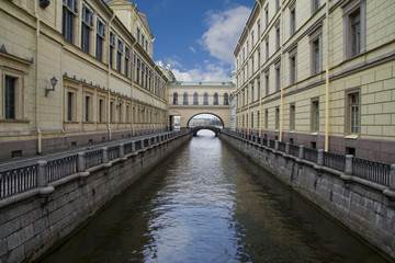 Russia, Saint-Petersburg, Bridges of Winter Channel near The Erm