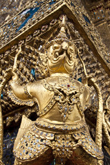 in the temple wall at wat prakeaw temple in bangkok, Thailand