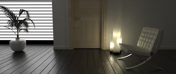 Obraz Stanza con poltrona, lampada e pianta - fototapety do salonu
