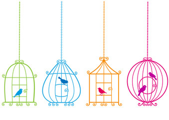 lovely birdcages with birds, vector