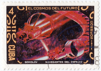 stamp printed in Cuba shows a painting by th