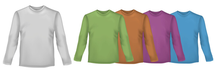 Colored polo shirts with long sleeves. Vector.