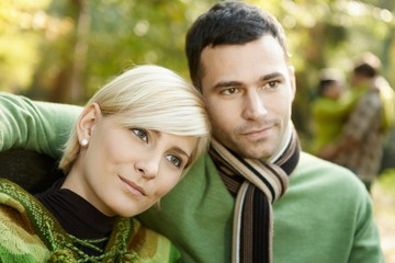 Closeup portrait of young couple
