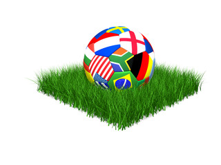 High quality 3d render of soccer ball with international flags