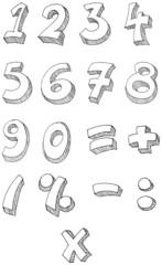 Numbers vector hand written