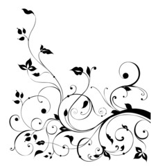 black flower and vines pattern