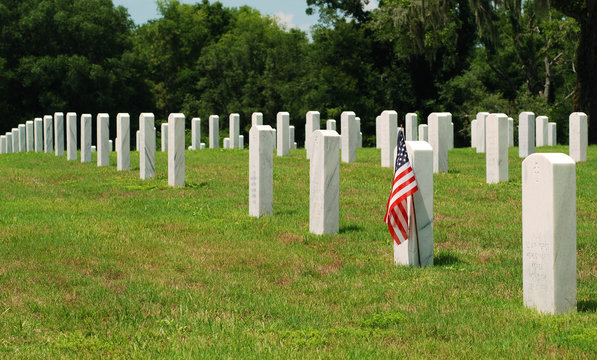 American Flag on a Military Grave