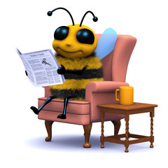 3d Bee reads the newspaper in his comfy chair