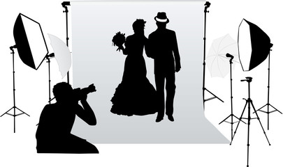 Wedding photo session in a professional studio