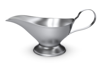 silver gravy boat isolated