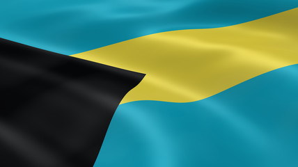 Bahamian flag in the wind