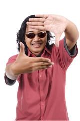 Long Hair Man Framing His Face