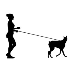 Silhouette of a woman walking a dog