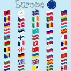 europe stylized flags