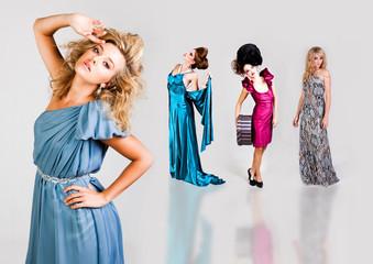 Young Women Modeling Elegant Fashions