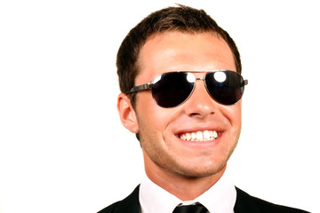 Closeup portrait of handsome pilot in glasses