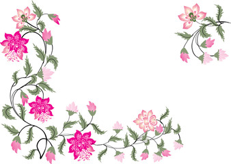 pink and green floral corners