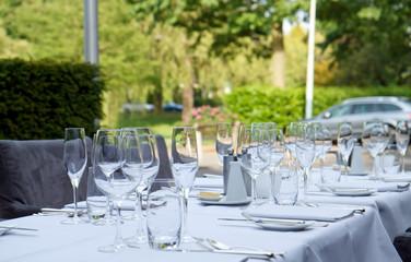 dinner tables on terrace of star restaurant