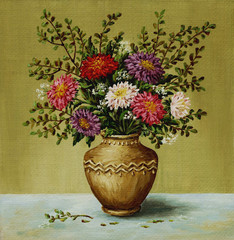 Asters in a clay amphora