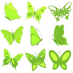 set of green butterflies