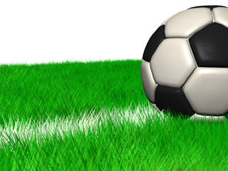 CGI Soccer Ball in grass on a white line