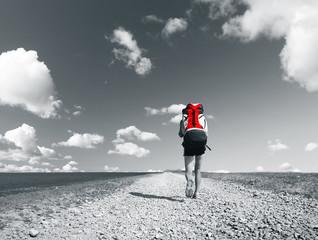 Foto op Canvas Rood, zwart, wit Road