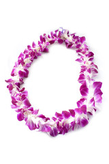 Hawaiian lei made of  orchid blooms