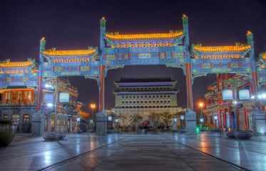 Photo sur Toile Pékin qianmen street beijing at night