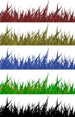 colored grass on white background