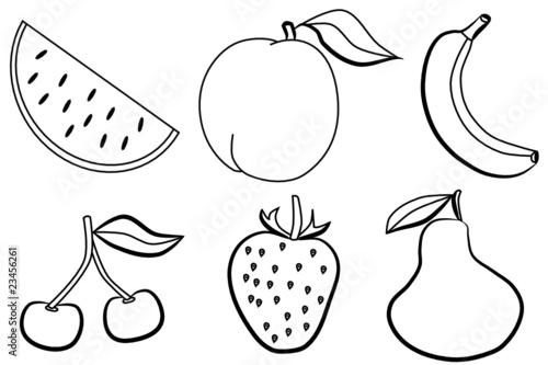 Frutas de verano - dibujos para colorear\