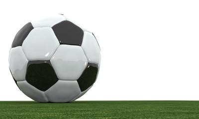 3D soccer ball on the grass