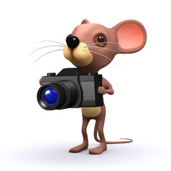 3d Mouse takes a picture with his camera