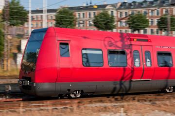Passenger train in motion